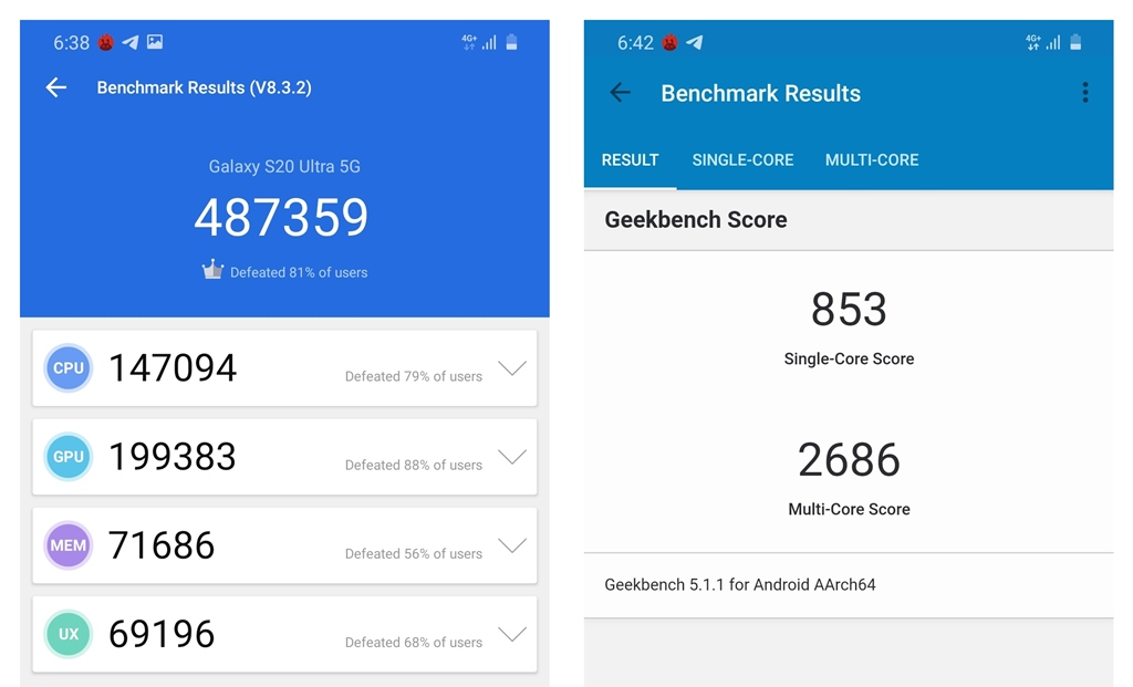 Galaxy S20 Ultra benchmark