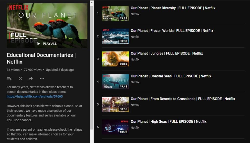 Netflix Documentary Films on YouTube