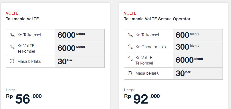Telkomsel VoLTE Telkomsel Package